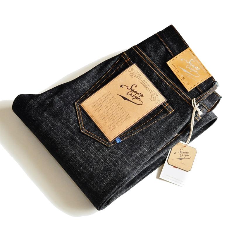 SAUCE ORIGIN Mens Jeans 925 Real Silver Buttons Jeans JAPAN BLUE Top Selvedge Denim Slim Fit Small Leg Handmade 16 oz