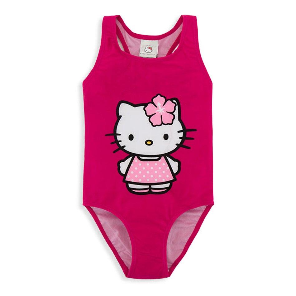 Honeyzone, traje de baño para niñas, marca 2020, traje de baño de una pieza de gato rojo rosa de verano, Bikini para niña, traje de baño bimba y lol