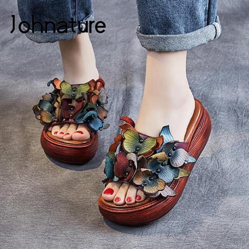 نعال من الجلد الطبيعي للنساء ، أحذية صيفية ، أحذية خارجية ، نعل إسفين زهري ، مجموعة جديدة 2021