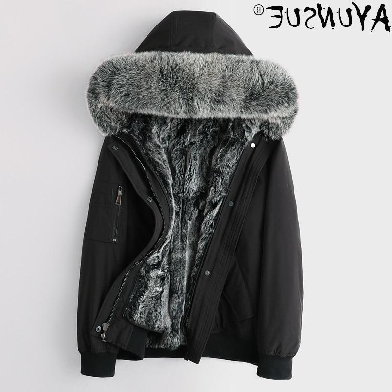 Man Winter Jacket 2021 Jackets for Men Parka Thick Real Rabbit Fur Coat Rabbit Fur Sleeves 5XL Cloth