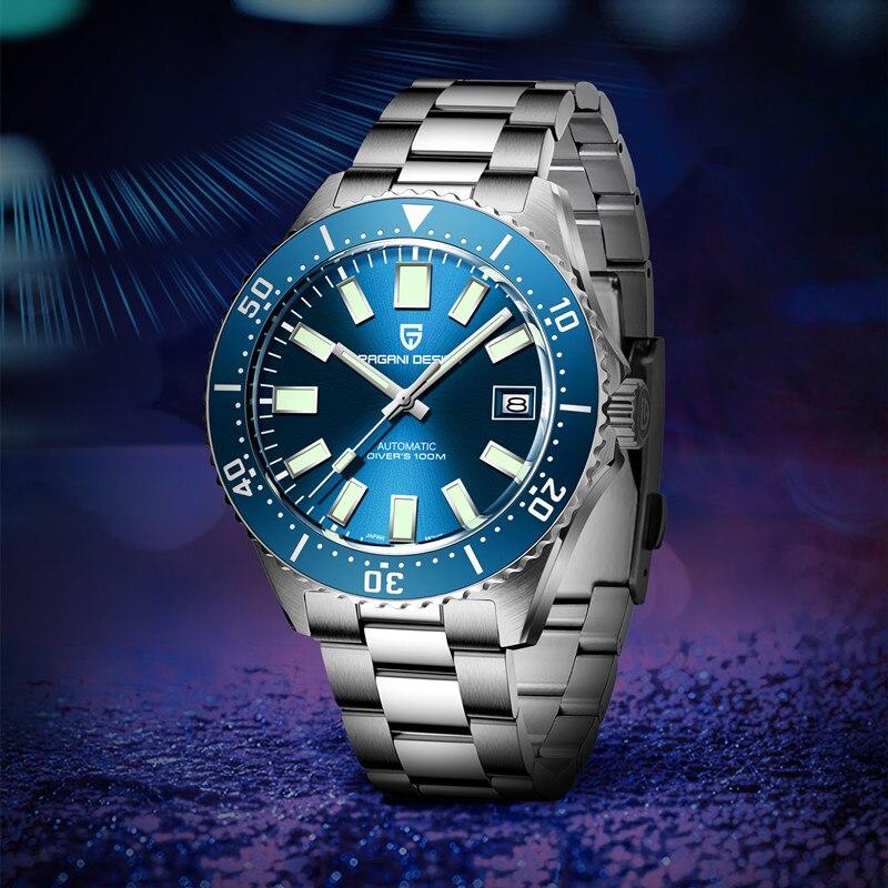 PAGANI تصميم ساعة الموضة رجال الأعمال ساعات آلية 100 متر مقاوم للماء الياقوت الزجاج التلقائي ساعة معصم Pagani التصميم