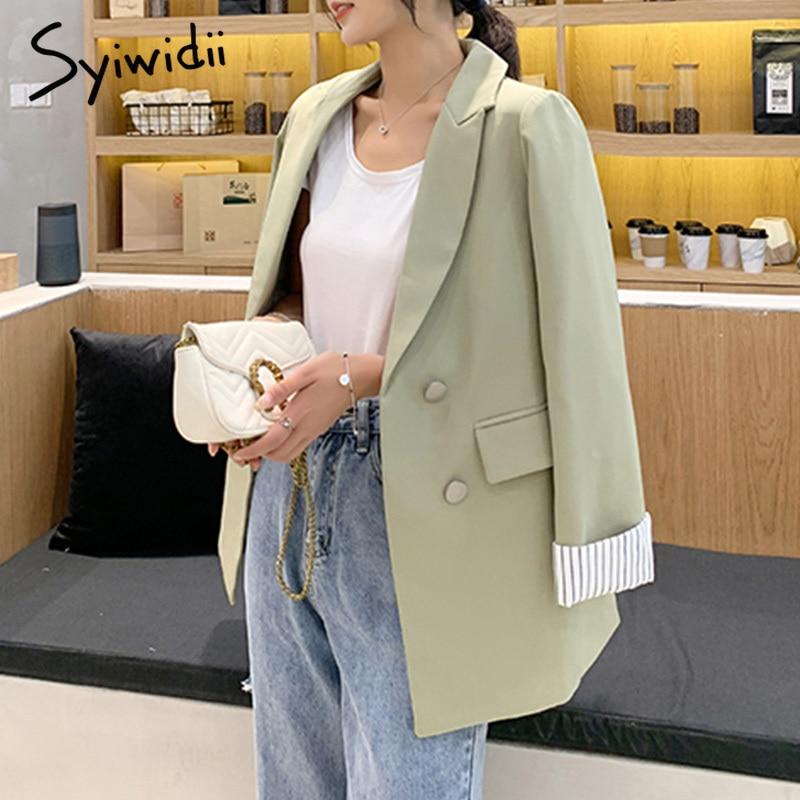 Striped long sleeve women blazers and jackets office plus size women blazer double breasted notched coat work women suit jacket