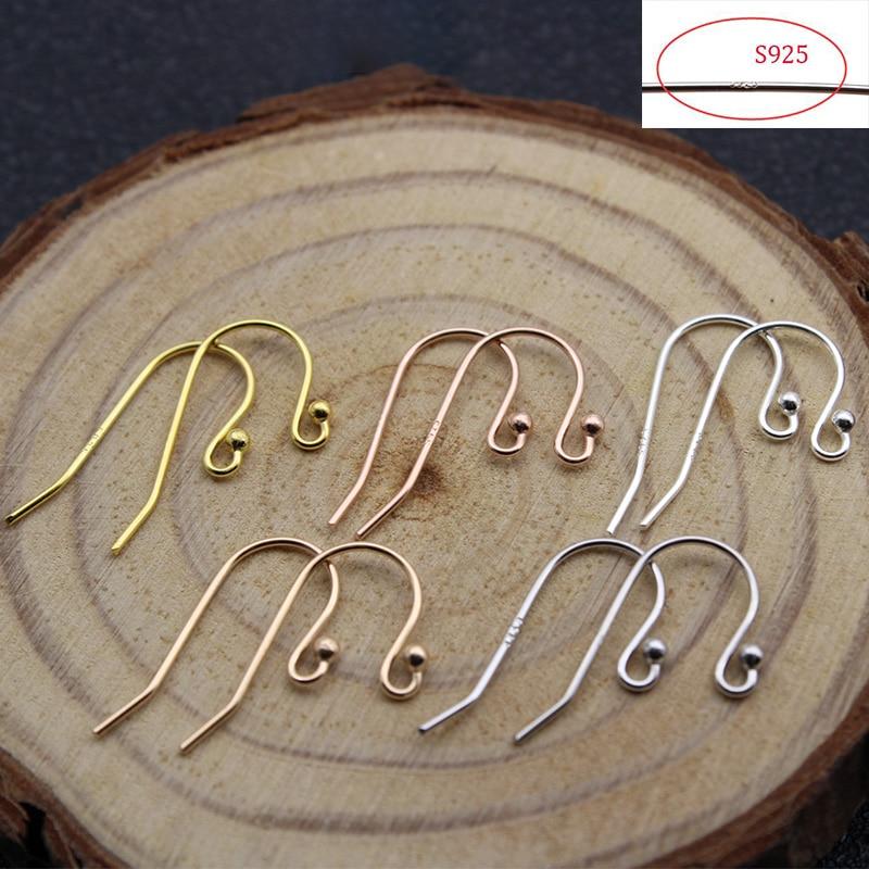 4 pçs 100% s925 prata esterlina brinco ganchos hipoalergênico feito à mão orelha gancho fio configurações base para joias fazendo descobertas Componentes p/ joias    -
