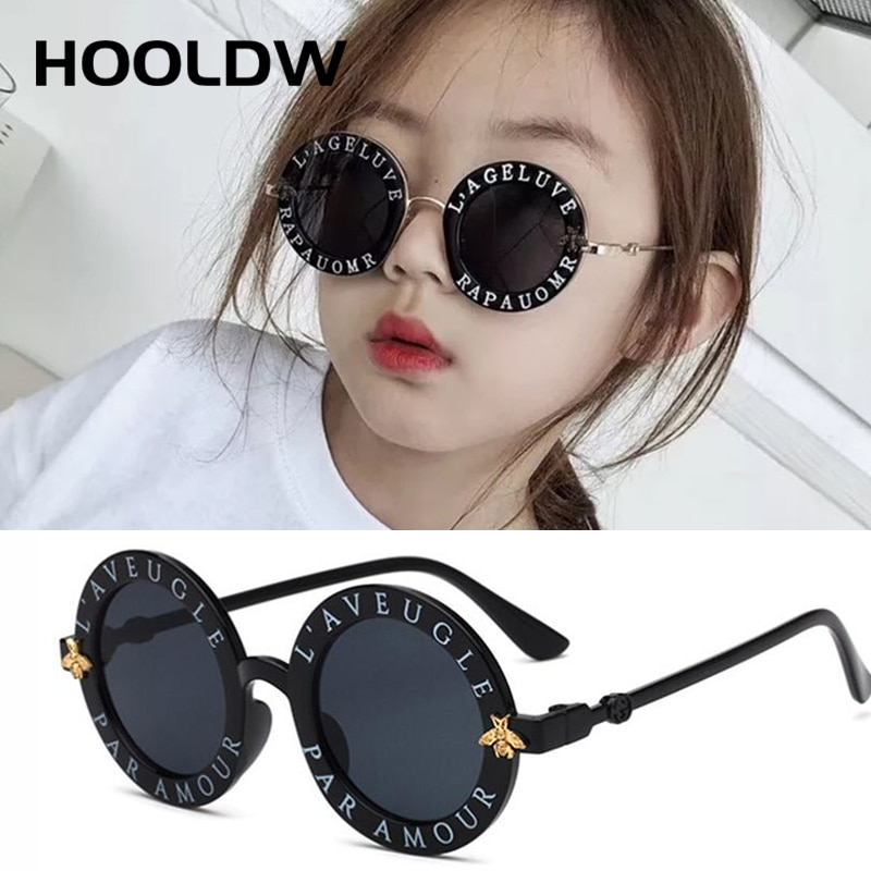 New Fashion Small Round Kids Sunglasses Brand Designer Bee Children Sunglasses Boys Girls Baby Outdo