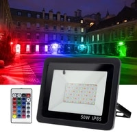 fofun 50w100w outdoor rgb led flood light with remote controller color changing security lighting landscape spotlight for house