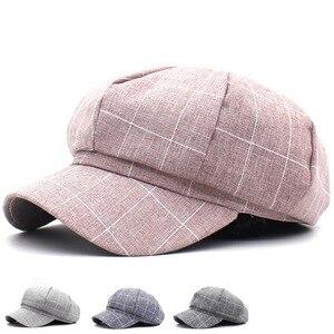 New Women's Beret Fashion Plaid Newsboy Hat Casual All-match Cap Female Sun Visor Octagonal Cap