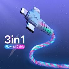 3in1 흐름 빛나는 조명 usb 케이블 3 1 2in1 마이크로 USB 유형 C 8Pin 충전기 와이어 아이폰 화웨이 Xiaomi
