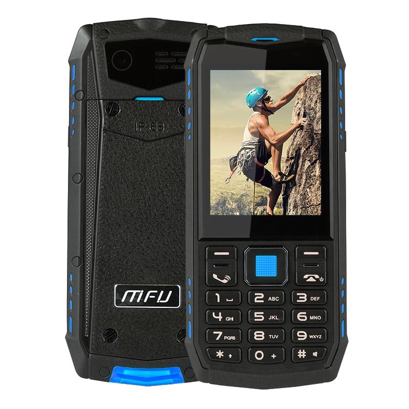 ¡3G! IP68 impermeable a prueba de golpes a prueba resistente Bi botón Push teclado abierta Bar teléfono móvil pantalla grande Batería grande SOS familia regalo