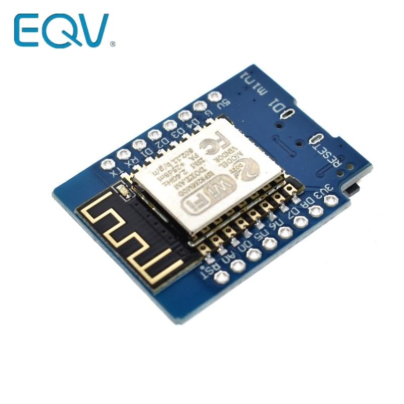 EQV-Placa de desarrollo modelo D1 mini NodeMCU Lua, tarjeta de 3,3V con pines, ESP-12, D1, ESP8266, ESP-12F, CH340G, CH340, V2, USB, WeMos, wifi, IOT