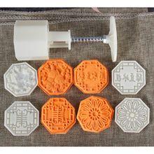 50-65g kwadratowy kwiat forma na ciasteczka księżycowe 4 znaczki DIY prasa ręczna foremka do ciastek Mid-autumn Festival narzędzie do pieczenia ciast
