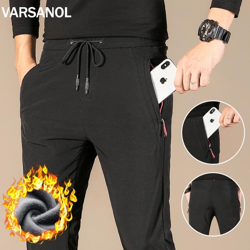 Varsanol jogger masculino casual esporte sweatpants moda sólido preto streetwear calças leggings ginásio faixa e campo moletom 4xl
