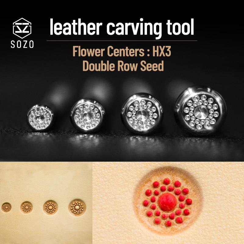 Centros de Flor Stamping-estampado de Couro Selos de Gravação por 304 de Aço Sozo Escultura-ferramenta Dupla Fileira Offset Semente Inoxidável Hx3