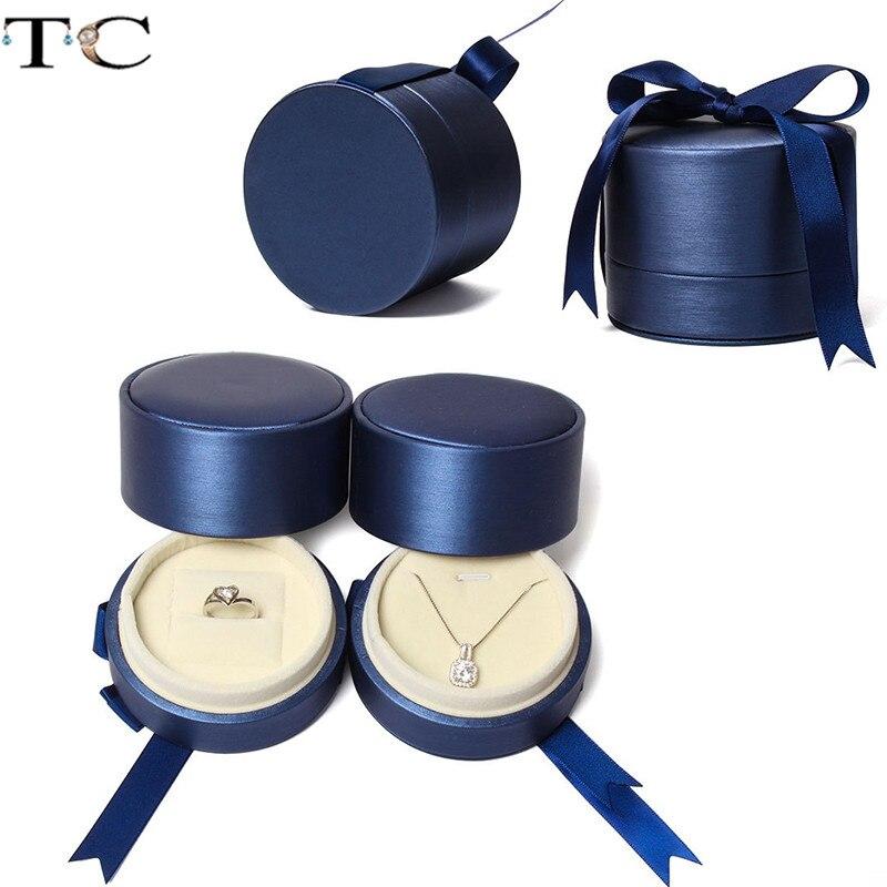 Caixa de jóias de couro de cor azul com fita pingente caixa de anel caixa de jóias loja de presente embalagem recipiente caixa de presente