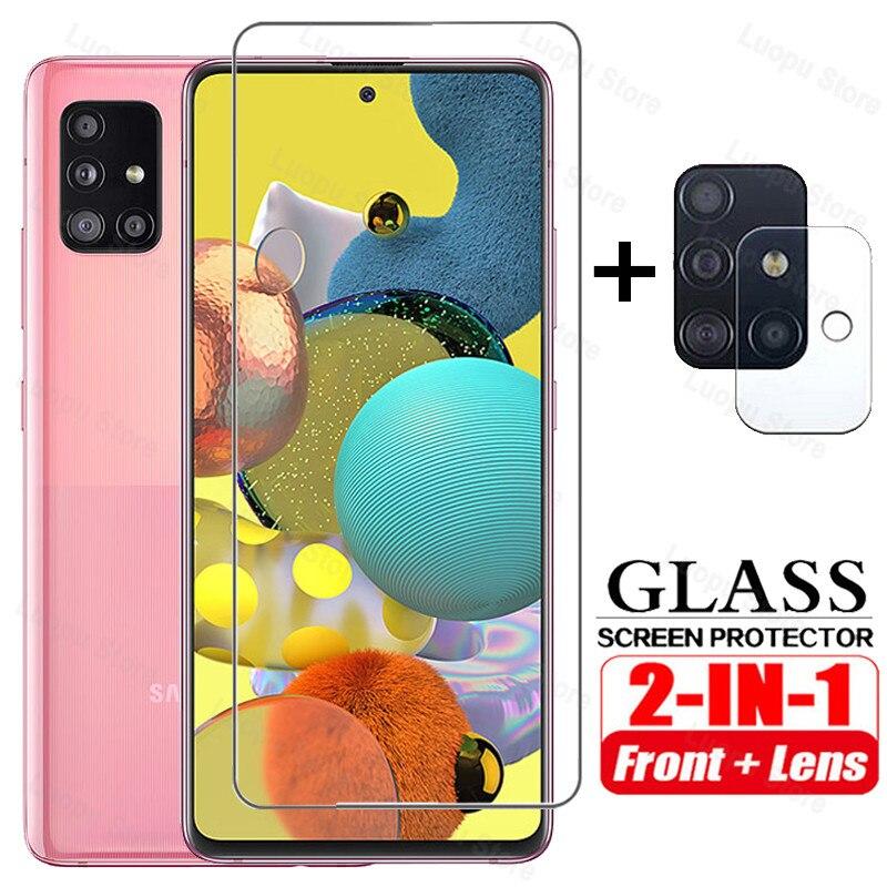 2-in-1 Gehärtetem Glas für Samsung A51 A71 eine 51 71 2020 Screen Protector Kamera objektiv Schutzhülle glas für Samsung A51 A71 glas