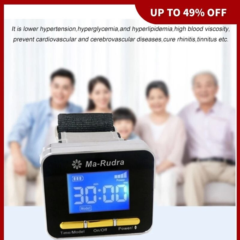Mu-Rudra Wrist Laser Watch Diode 650nm LLLT Medical Laser Watch to Reduce High Blood Pressure Hypertension