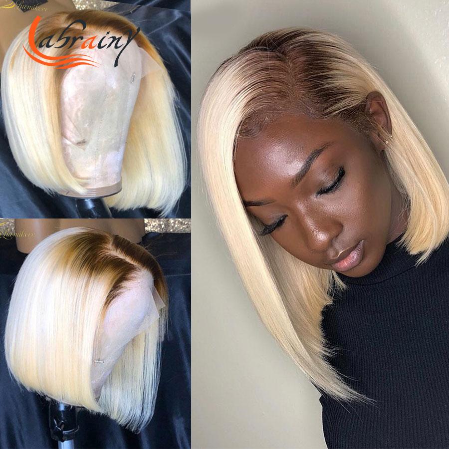 13x4 Боб, фронтальные человеческие волосы с коротким вырезом, парики с эффектом омбре, 613 блонд, предварительно выщипанный Полный прямой цветн...