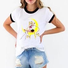 Japanese anime t shirt women sailor moon shirt woman harajuku kawaii clothes summer top female white tops t-shirt 90s tshirt