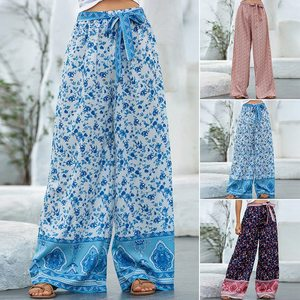 Женские свободные пляжные брюки со шнуровкой, свободные брюки с цветочным принтом, Новинка лета 2020