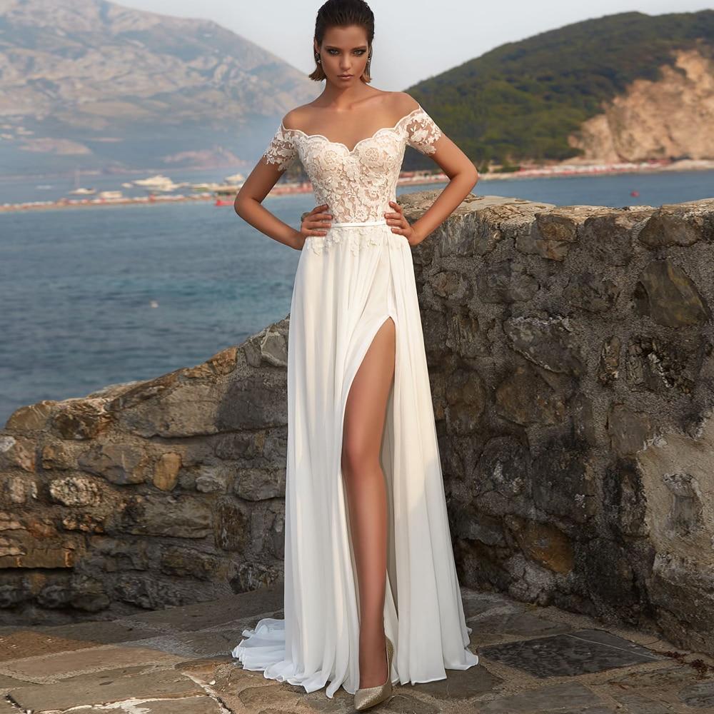 Promo Boho  Sexy Wedding Dresses 2021 Beach  Chiffon Appliques Slide Split V-Neck Off-Shoulder Covered Button A-Line Bridal Gowns