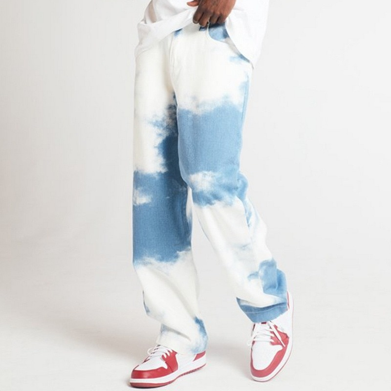 Прямые джинсы мужские свободного покроя, повседневные брюки из денима с принтом, небесно-голубые, прямые штаны с завязкой, Прямая поставка, ...