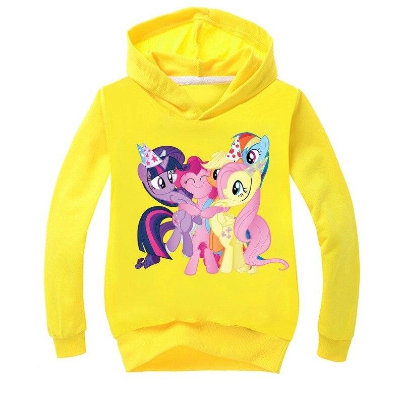 Camiseta con estampado de dibujo de poni para niños, Ropa para Niñas, camiseta de manga larga para niños, Tops con capucha, camiseta, disfraz de bebé, sudadera, 2020