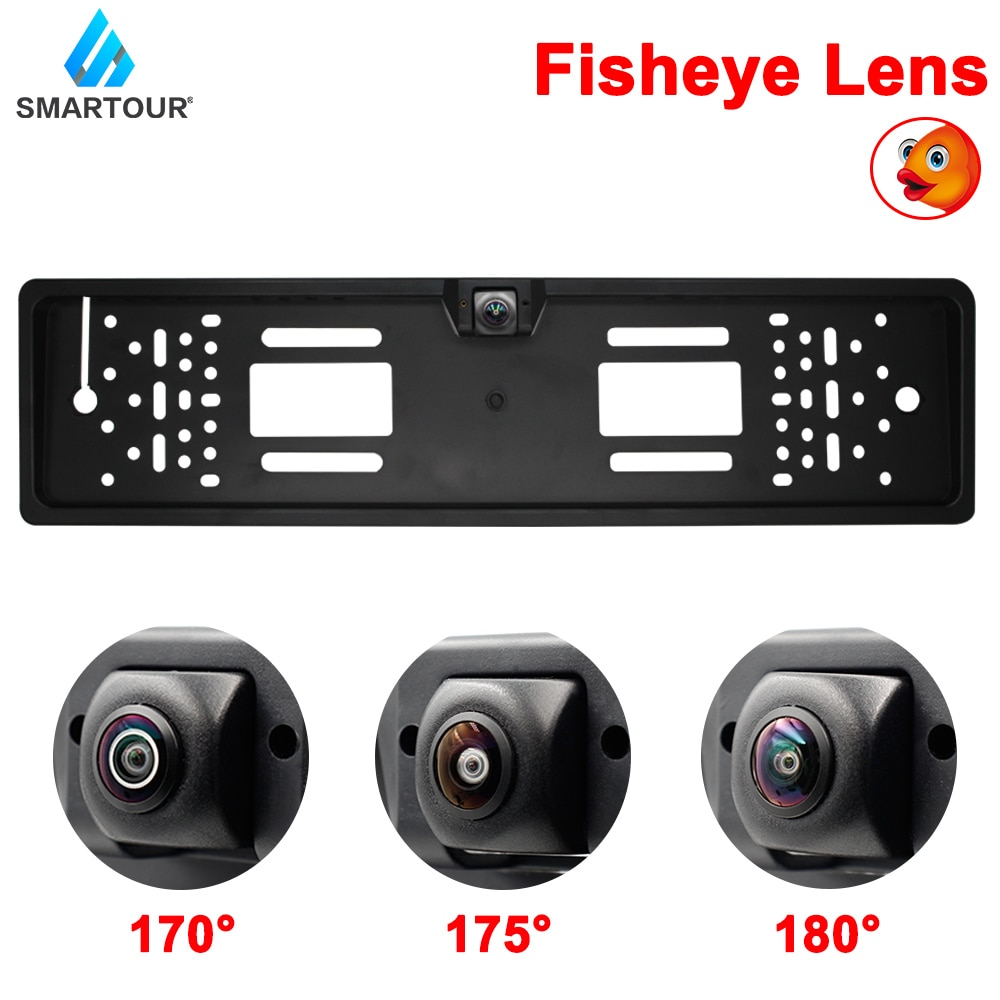European Car Number License Plate Frame Rear View Camera Fisheye Night Vision Reverse Backup Parking