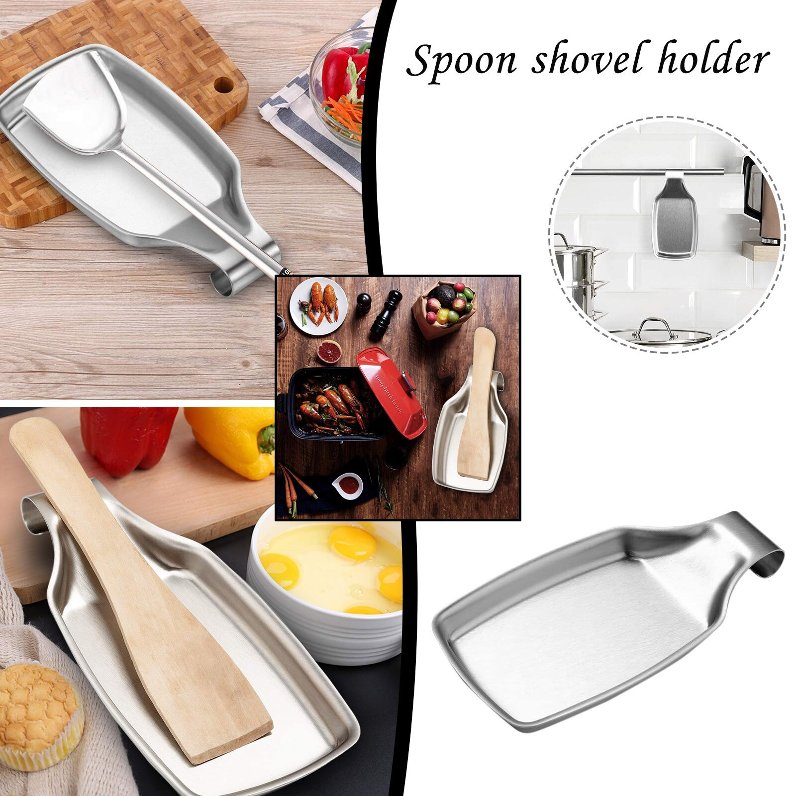 Rust Stainless Steel Spoon Holder Kitchen Spoon Spatula Leaky Kitchenware Holder Kitchen Utensil Durable Rice Spoon Support Pad