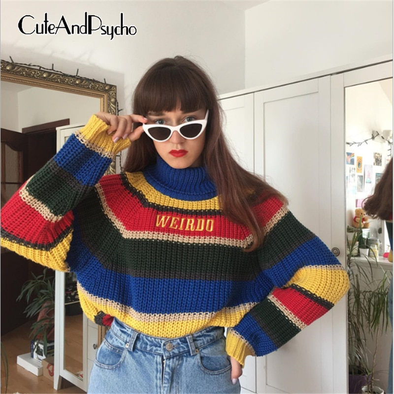 Jersey y2k tejido a rayas colorido para mujer, suéteres estéticos de otoño Bordado de letras, jersey de gran tamaño Harajuku Cuteandpsycho