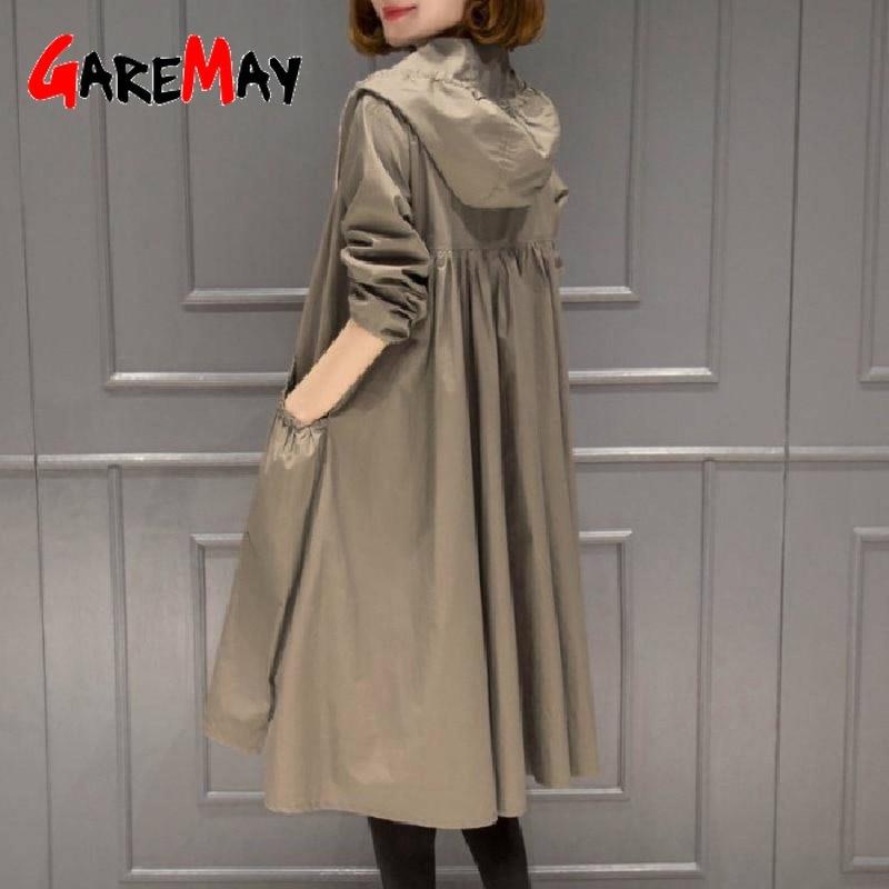 Primavera outono feminino trench coats longo fino com capuz casual bolso windbreakers casaco feminino à prova dwaterproof água 4xl