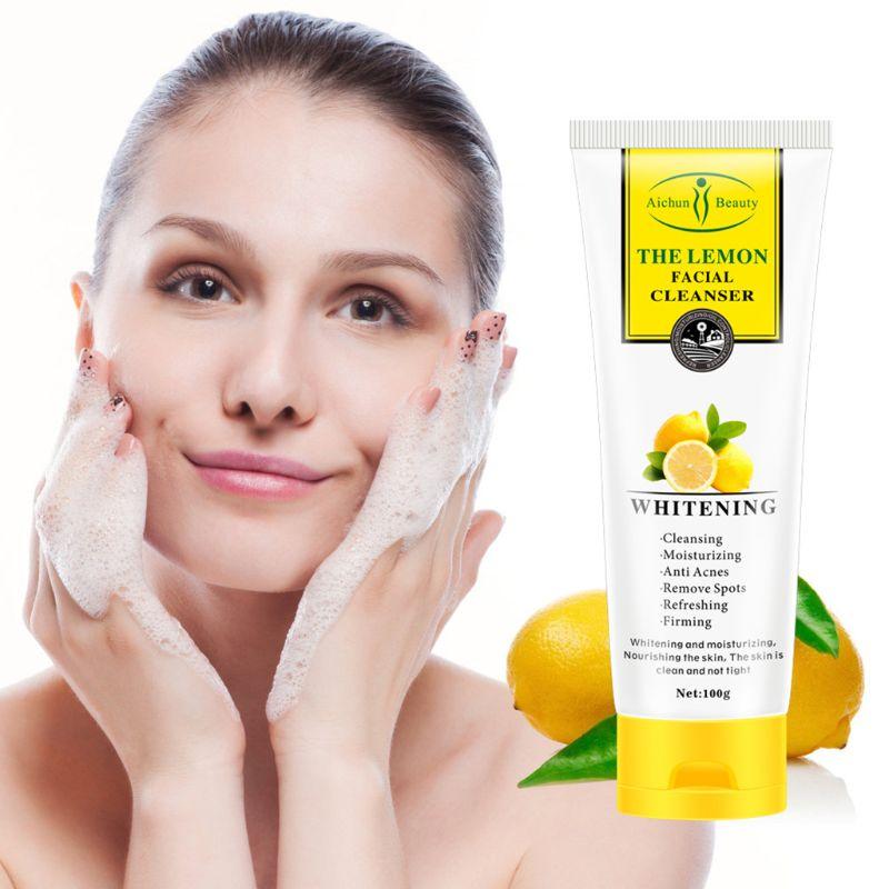 Limpiador profundo Facial de limón de 100g, espuma suave para reducir los poros, Control de aceite, hidratante, lavado de cara diario