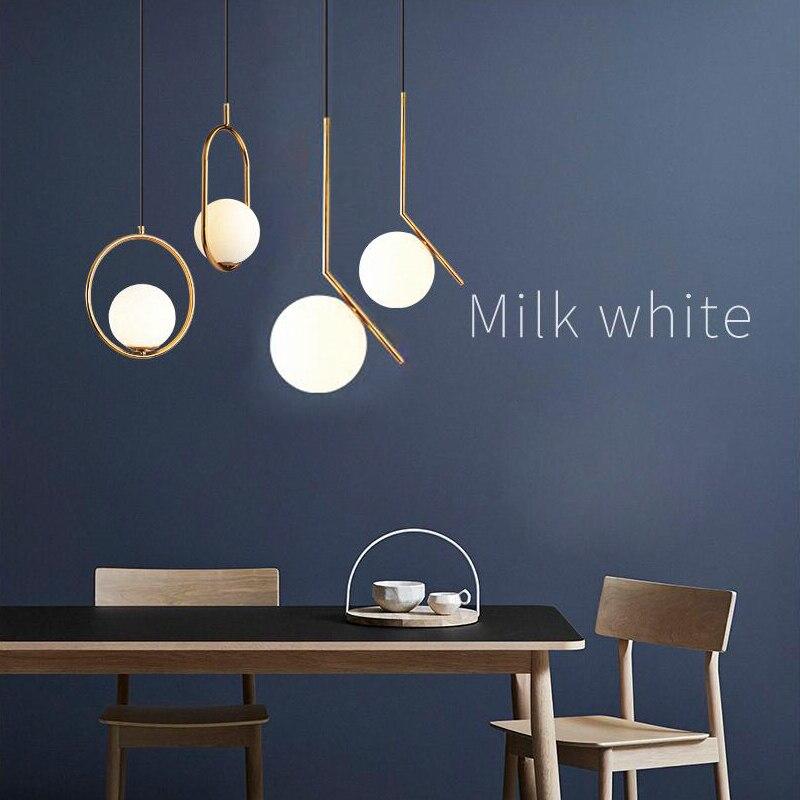 Nordic люстра минималистский Art светодиодный люстры повесить Стекло мяч Гостиная Спальня Ресторан Бар Потолочные светильники содержит лампы