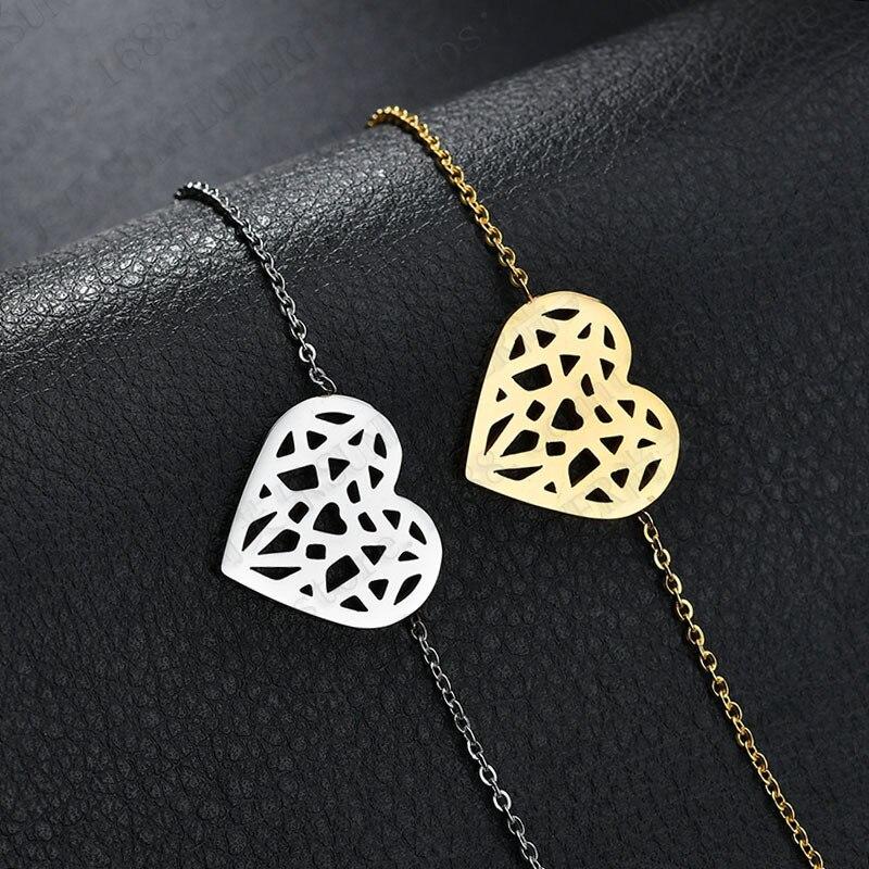 Charm Bracelets for Women Boho Stainless Steel Hollow Heart-Shaped Bracelets Luxury Jewelry Gift Wholesale Bulk Pulseras