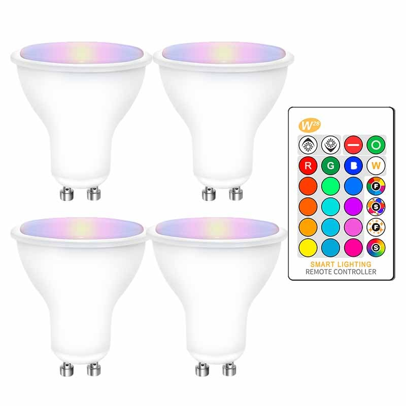4PCS GU10 RGB LED Bulbs 8W GU10 RGBW RGBWW Led Lamp White / Warm White GU 10 with 16 Colors IR Remote Control Memory Function