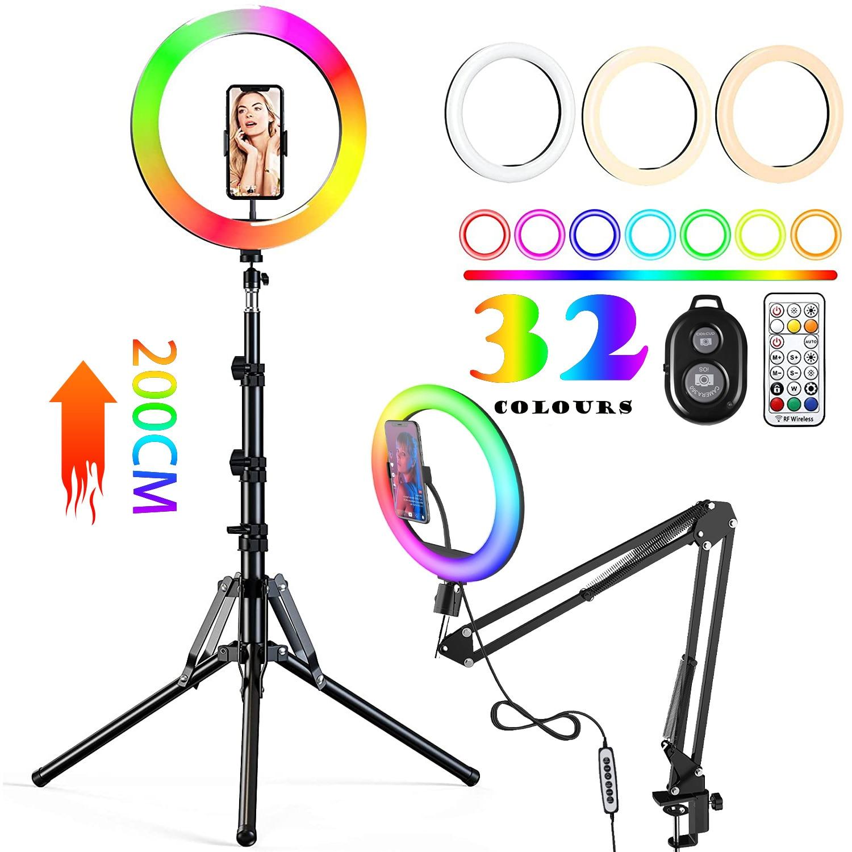 RGB اللون لينة مصباح مصمم على شكل حلقة مع مكتب طويل الذراع اللوحي ترايبود التصوير الإضاءة Selfie RingLight دائرة مصباح حامل هاتف حامل