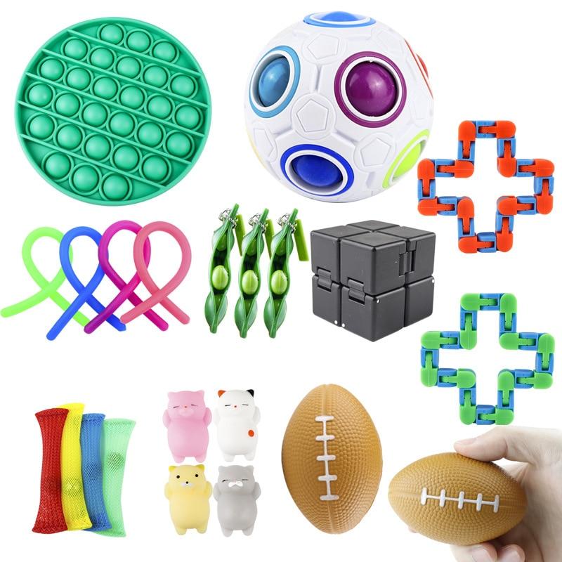 Decompression squeeze set to relieve irritability anxiety gyro cube dice toy spot fidget stress squishy keychain sensory toys