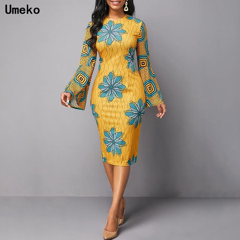 Umeko 2020 African Dresses for Women Dashiki Print News Tribal Ethnic Fashion O-neck Ladies Clothes Casual Sexy Dress Robe Party