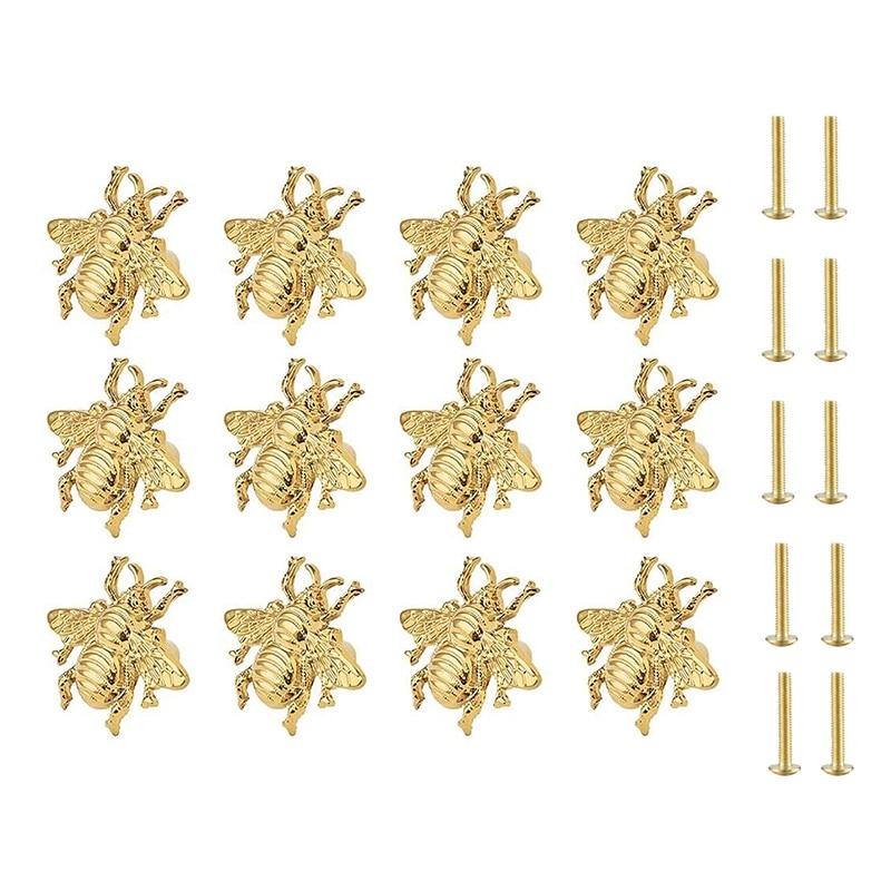 12 قطعة مقابض النحل النحاس الذهب المقابض ل خزائن للمطبخ دولاب منضدة زينة بغرفة النوم الأثاث الباب (مع مسامير)