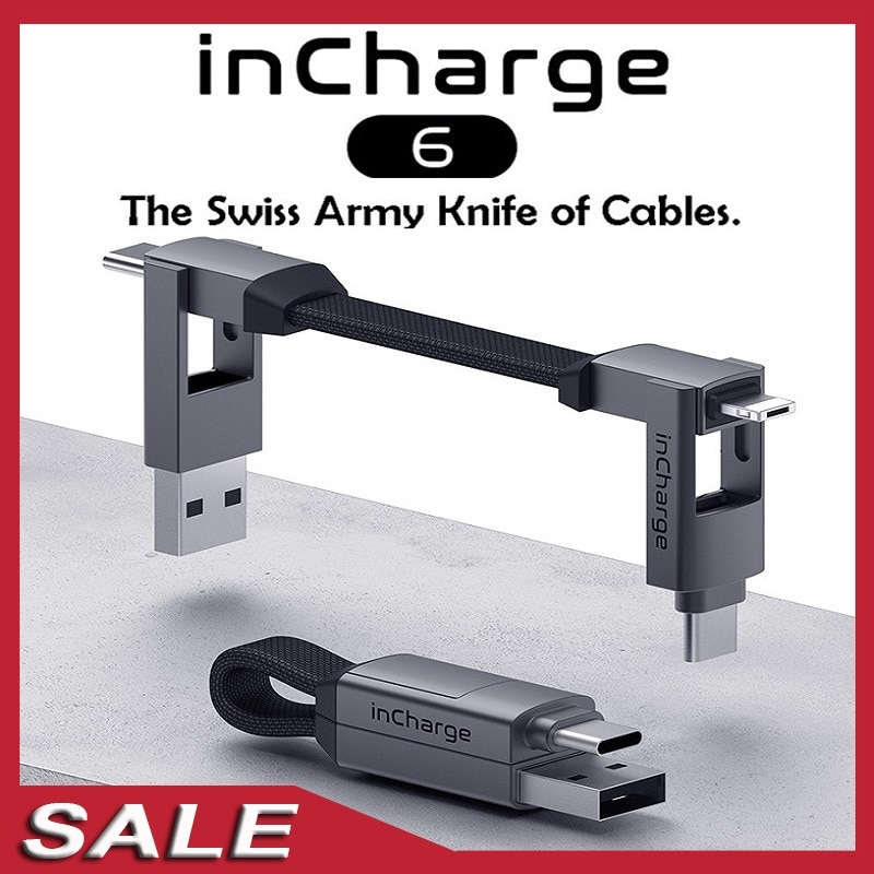 InCharge 6/6 ماكس 6 في 1 الألومنيوم USB شحن كابل USB-C نوع C مايكرو USB المغناطيسي كيرينغ آيفون كابل بيانات الهاتف الذكي