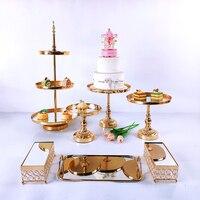 7-11pcs Crystal Cake Stand Set Metal mirror Cupcake stand decorations Dessert Pedestal wedding Party Display cake tray