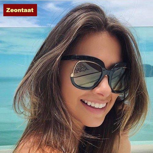 Zeontaat Women Oversized Sunglasses Luxury Fashion Cat Eye Ladies Vintage Brand Designer Female Sun