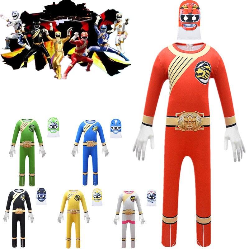 Hyakujuu sentai gaoranger cosplay traje de halloween para crianças power rangers força selvagem crianças aniversário mardi gras festa roupas