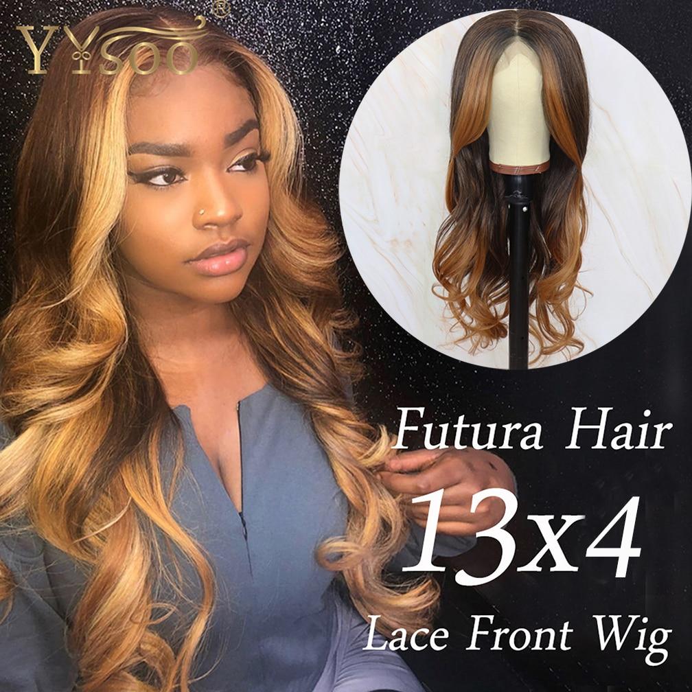 yysoo long blonde baylayage cor futura lace sintetico frente wigs13x4 japao fibra