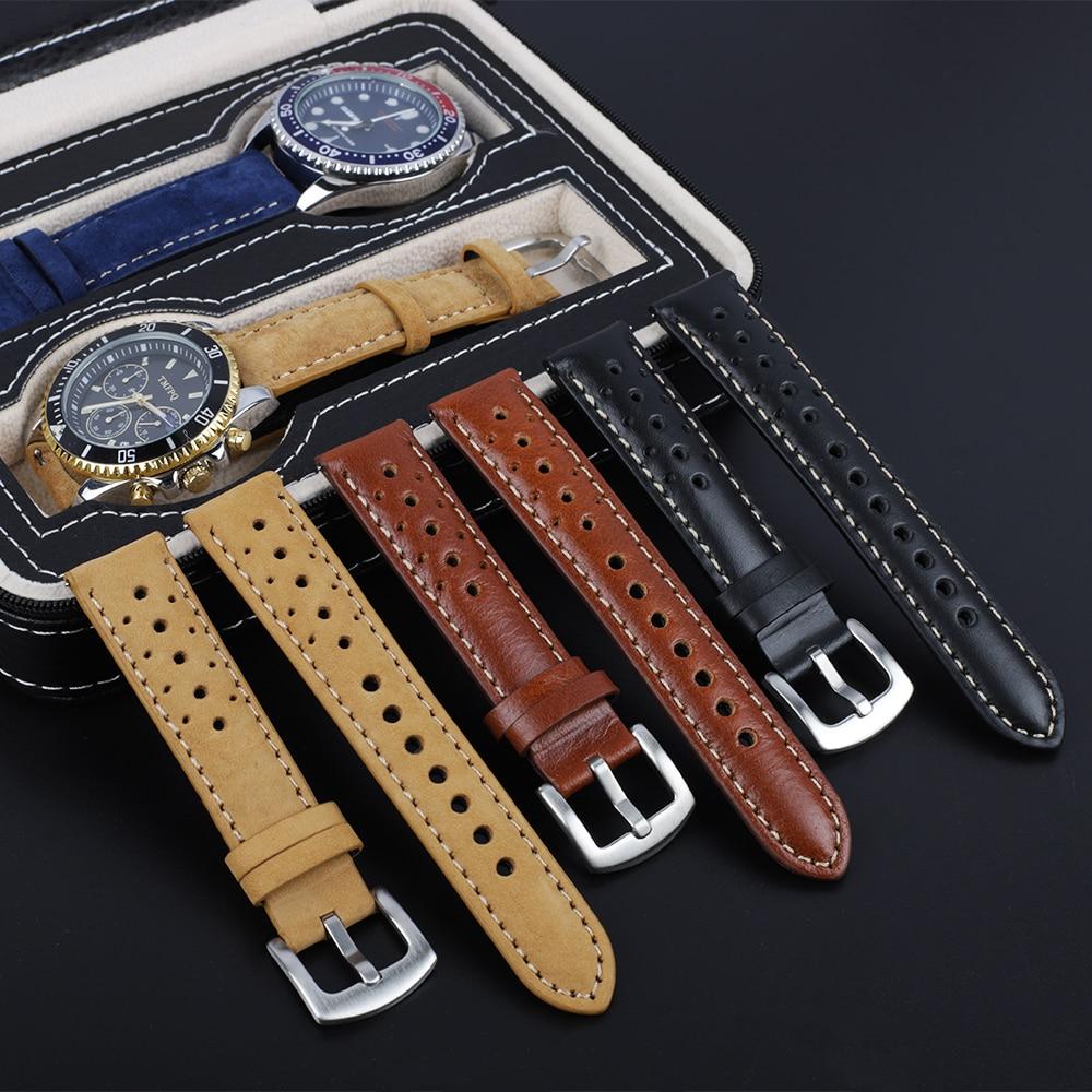 Correa de reloj de cuero auténtico Vintage hecha a mano, banda de...