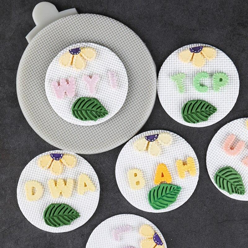 Flor cosida, letras, molde de hojas molde de silicona Fondant torta herramienta decoración azúcar Fondant Chocolate formas utensilios para hornear