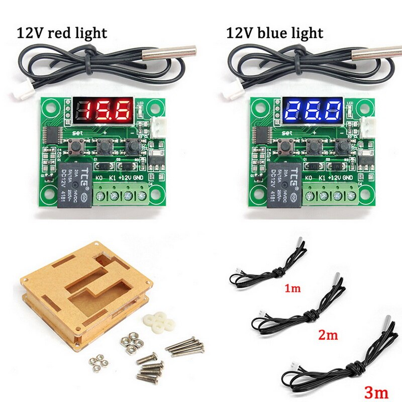 LED rouge Thermostat numérique contrôle de température thermomètre Thermo contrôleur commutateur Module DC 12V 125V étanche avec boîte