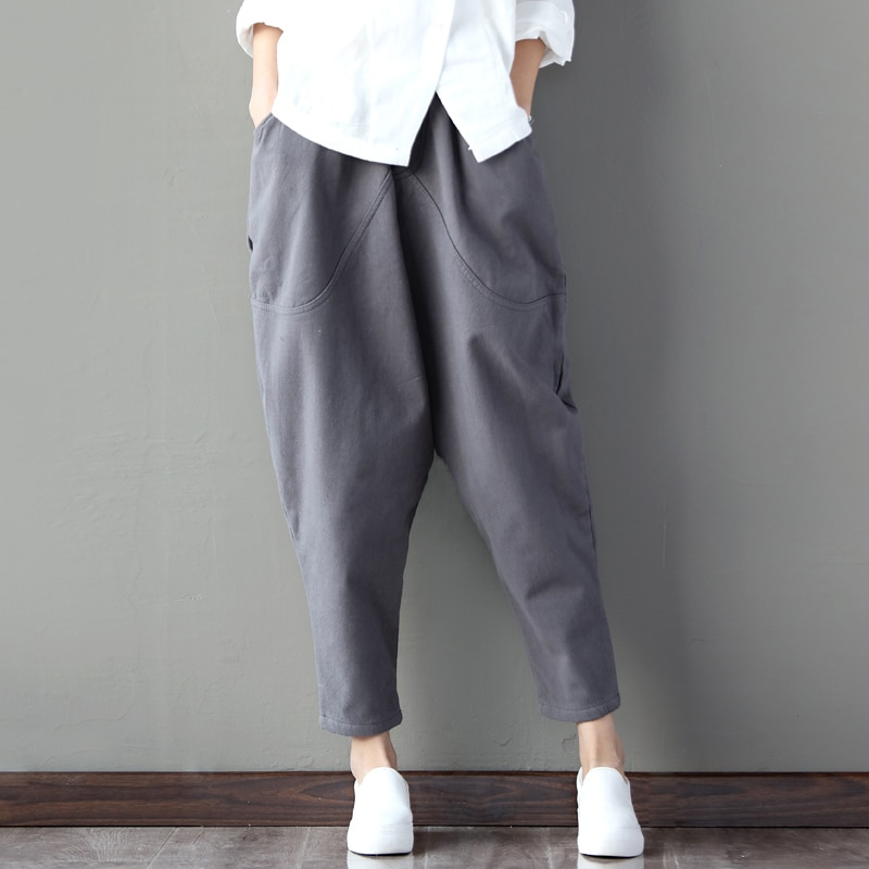 Pantalones Harem de lino Retro para mujer Lolita pantalones étnicos femeninos hasta el tobillo cintura elástica talla grande pantalones Harem holgados para mujer