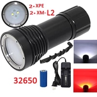 4x xm l2 led 2x xpe led photography video diving flashlight 4 led underwater torch waterproof lantern 32650 batterycharger