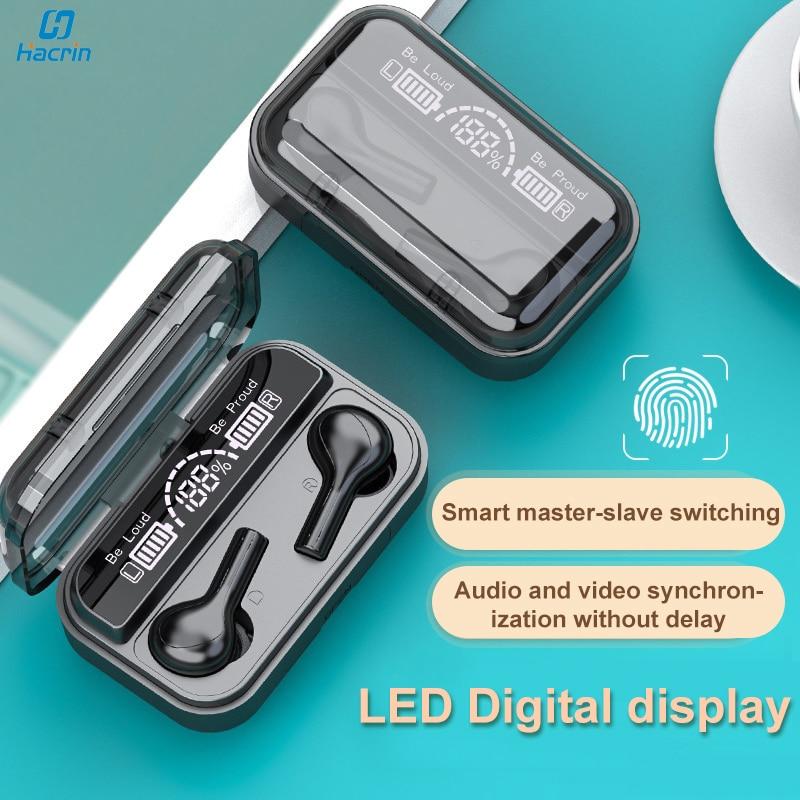 Auriculares TWS, inalámbricos por Bluetooth, Auriculares deportivos intrauditivos HiFi estéreo con pantalla LED y Control táctil para Xiaomi y Huawei