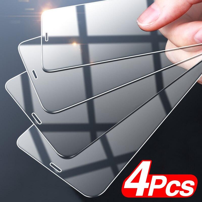 Protecteur d'écran pour iPhone, 4 pièces, film à couverture complète en verre trempé pour modèles 6, 7, 8, 11 Pro, X, XR, XS MAX, 12 Pro Max