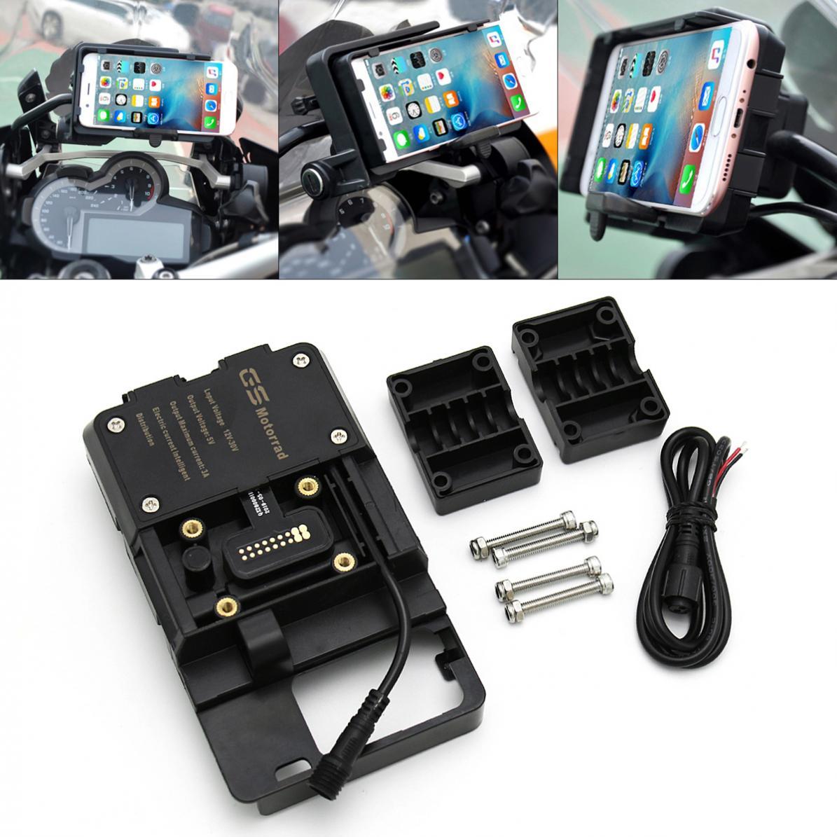 حامل شحن USB عالمي للدراجات النارية ، ملحق ملاحة مقاوم للماء قابل للتعديل ، متوافق مع BMW R1200GS